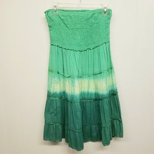 Like New! Tie Dye Green Strapless Dress